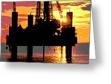 Offshore Drilling Rig Sunset Greeting Card