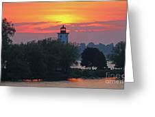 Ogdensburg Lighthouse At Sunset 6695 Greeting Card