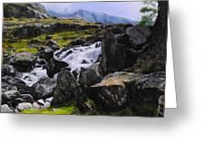 Ogwen Rock Waterfall Greeting Card
