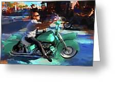 Oh So Turq Biker Greeting Card