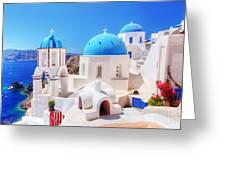 Oia Town On Santorini Island Greece Aegean Sea Greeting Card