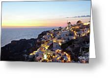Oia Village In Santorini Island - Greece Greeting Card