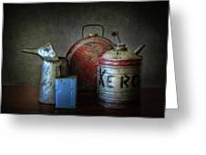 Oil And Kerosene Cans Greeting Card