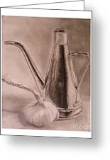 Oil Container And Garlic Greeting Card by Crispin  Delgado