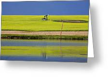 Oil Jack Reflection Saskatchewan Greeting Card