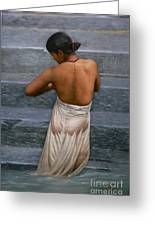 Oil Painting Art-bather On Linen Greeting Card