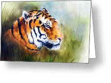 Oil Painting Of A Bright Mighty Tiger Head On A Soft Toned Abstr Greeting Card