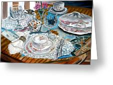 Oil Painting Still Life China Tea Set Greeting Card