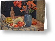 Oil Painting Still Life Vase Fruits Greeting Card