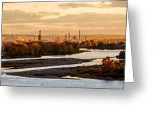 Oil Refinery At Sunset Greeting Card
