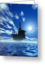 Oil Rig, Artwork Greeting Card by Victor Habbick Visions