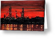 Oil Rigs Night Construction Portland Harbor Greeting Card