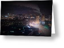 Oil Style City At Night Image Greeting Card