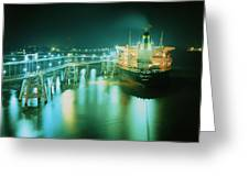 Oil Tanker In Port At Night. Greeting Card