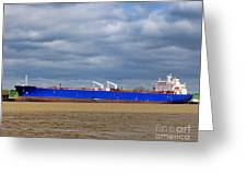 Oil Tanker Ship At Dock Greeting Card
