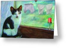 Ok I'll Pose - Painting - By Liane Wright Greeting Card