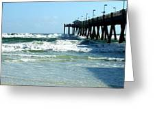 Okaloosa Pier Breaking Greeting Card