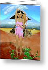 Oklahoma Girl With Mt.fuji Greeting Card