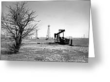 Oklahoma Oil Field Greeting Card by Larry Keahey