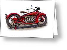 Old 1930's Indian Motorcycle Greeting Card by Mamie Thornbrue