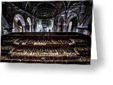 Old Abandoned Church Organ In Decay Greeting Card