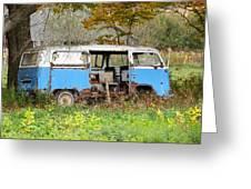 Old Abandoned Hippie Van Greeting Card