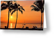Old Airport Beach Sunset Greeting Card