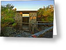 Old Army Lookout In Sunset Hour Greeting Card
