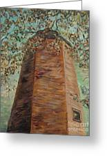 Old Baldy Light House In Teal Greeting Card