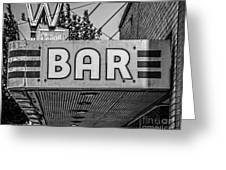 Old Bar Sign Livingston Montana Black And White Greeting Card