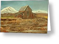 Old Barn And Mountain View Greeting Card