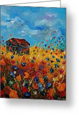 Old Barn And Wild Flowers Greeting Card