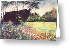 Old Barn And Wildflowers Greeting Card
