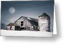 Old Barn And Winter Moon - Snowy Rustic Landscape Greeting Card