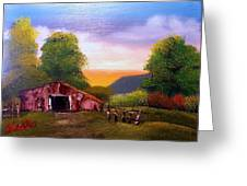 Old Barn In The Meadow Greeting Card
