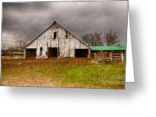 Old Barn In The Storm Greeting Card