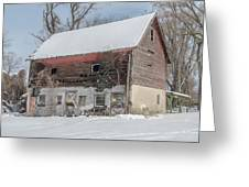 Old Barn In Upper Roxborough In The Snow Greeting Card