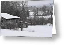 Old Barn In Winter Scenery Greeting Card