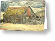 Old Barn Mossey Roof Greeting Card