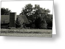 Old Barn Outbuildings And Silo  Greeting Card