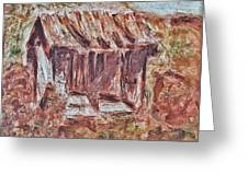 Old Barn Outhouse Falling Apart In Decay And Dilapidation Rotting Wood Overgrown Mountain Valley Sce Greeting Card