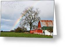 Old Barn Rainbow Greeting Card
