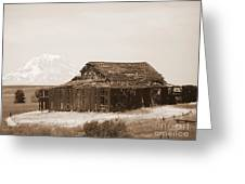 Old Barn With Mount Hood In Sepia Greeting Card