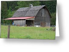Old Barn With Red Leanto  Washington State Greeting Card