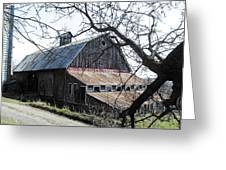 Old Barn With Tree Watercolor Greeting Card