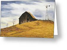 Old Barn With Windmill Greeting Card