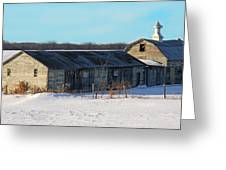 Old Barns And Snow Greeting Card
