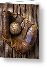 Old Baseball Mitt And Ball Greeting Card