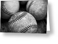 Old Baseballs In Black And White Greeting Card by Edward Fielding