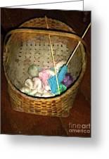 Old Basket New Yarn Greeting Card